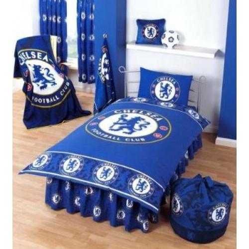 Chelsea Fc Tonal Border Football Panel Official Single Bed Duvet Quilt Cover Set
