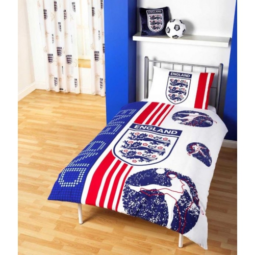 England Fc Football Panel Official Single Bed Duvet Quilt Cover Set