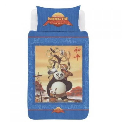 Kung Fu Panda Panel Single Bed Duvet Quilt Cover Set