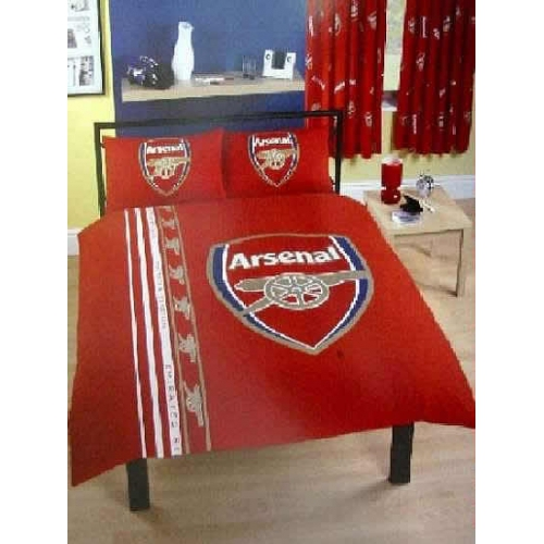 Arsenal Stripe Fc Football Panel Official Double Bed Duvet Quilt Cover Set