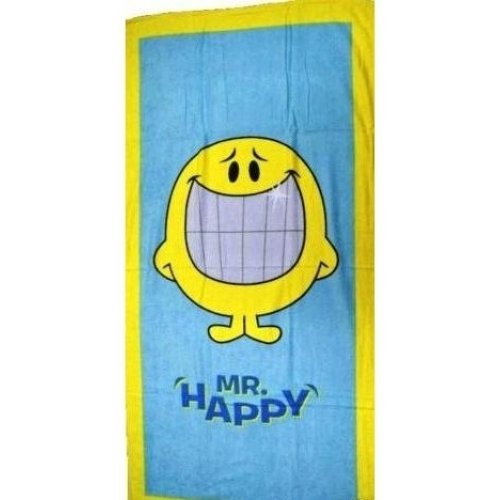 Mr. Men Little Miss Mr Happy Bath Towel