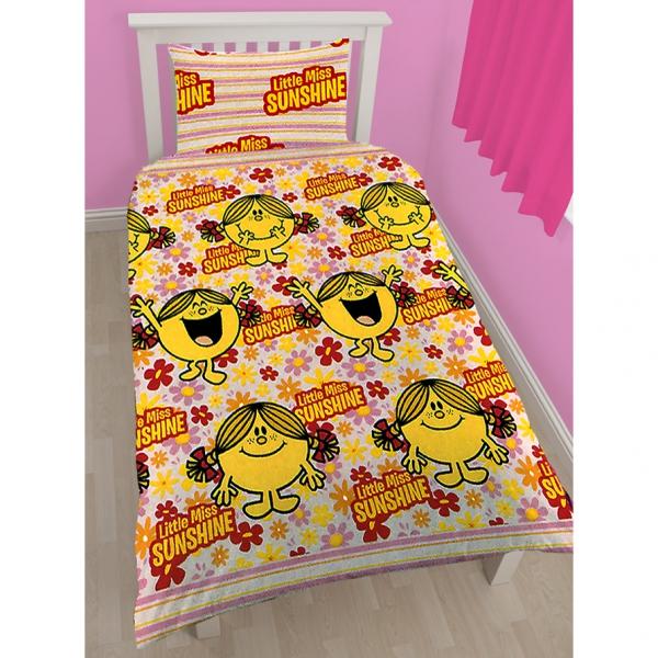 Mr Men Little Miss Sunshine Bloom Rotary Single Bed Duvet Quilt Cover Set