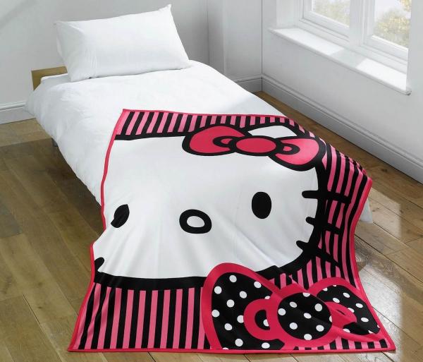 Hello Kitty Out Line Pink Panel Fleece Blanket Throw
