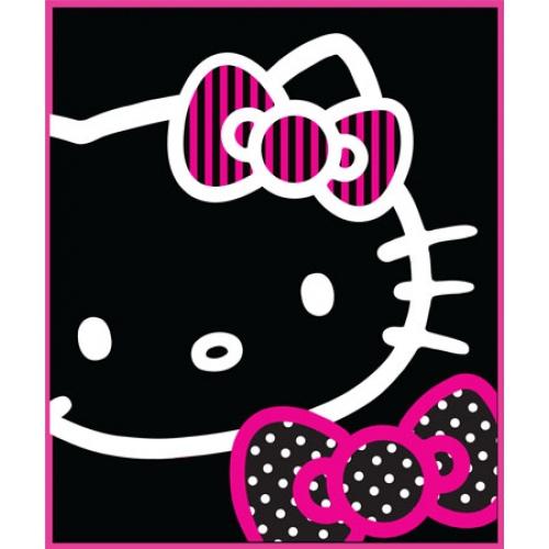 Hello Kitty Out Line Black Panel Fleece Blanket Throw