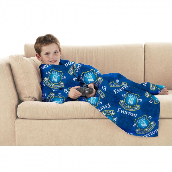 Everton Fc Football Official Cosy Wrap Blanket Sleeved Fleece