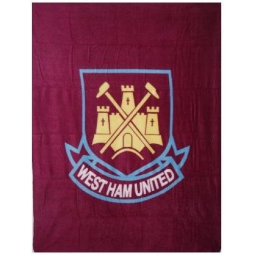 West Ham United Fc Football Panel Official Fleece Blanket Throw
