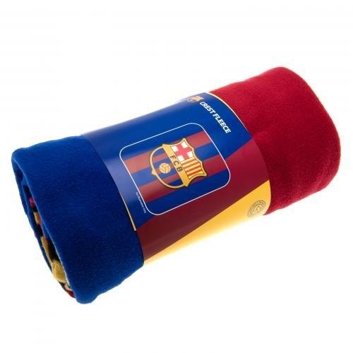 Barcelona Fc Crest Football Panel Official Fleece Blanket Throw
