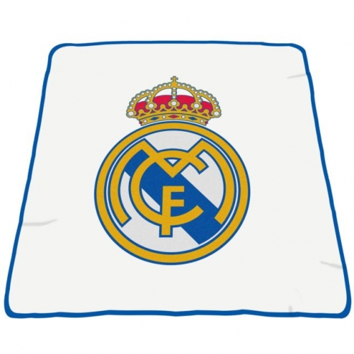 Real Madrid Fc Crest Football Panel Official Fleece Blanket Throw