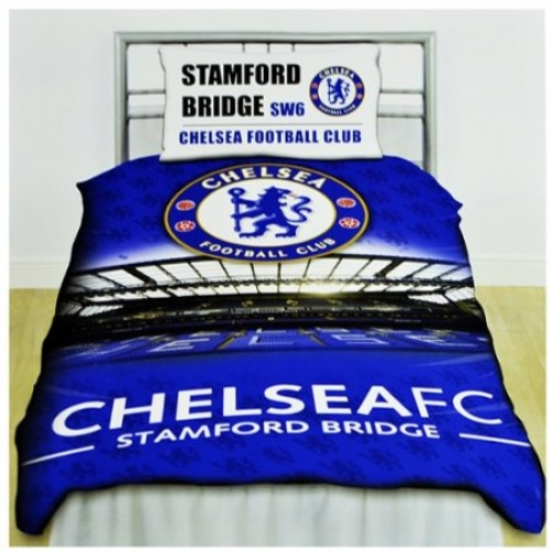 Chelsea Fc 'Stadium' Football Panel Official Single Bed Duvet Quilt Cover Set