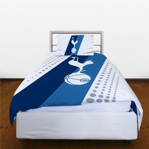 Tottenham Fc Stripe Football Panel Official Single Bed Duvet Quilt Cover Set