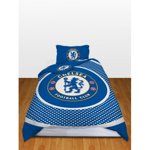 Chelsea Fc 'Bullseye' Football Panel Official Single Bed Duvet Quilt Cover Set
