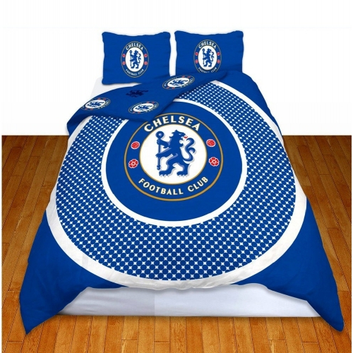 Chelsea Fc 'Bullseye' Football Panel Official Double Bed Duvet Quilt Cover Set