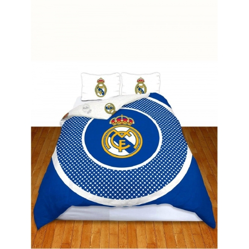 Real Madrid Fc 'Bullseye' Football Panel Official Double Bed Duvet Quilt Cover Set