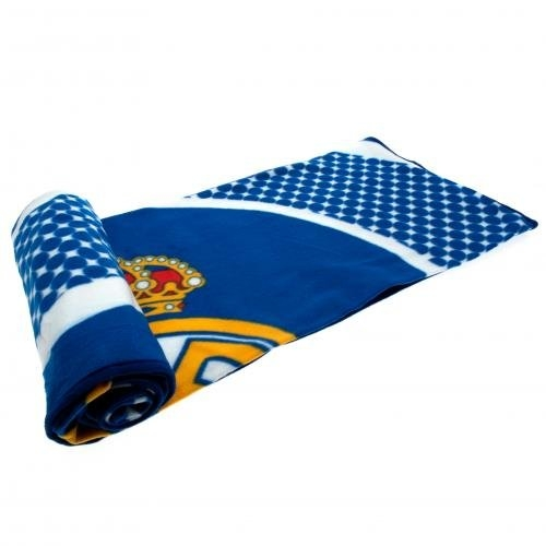 Real Madrid Fc 'Bullseye' Football Panel Official Fleece Blanket Throw