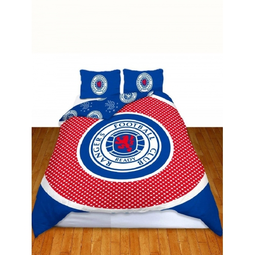 Glasgow Rangers Fc 'Bullseye' Football Panel Official Double Bed Duvet Quilt Cover Set