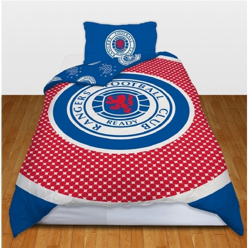 Glasgow Rangers Fc 'Bullseye' Football Panel Official Single Bed Duvet Quilt Cover Set