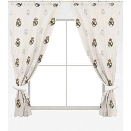 Real Madrid Fc Football Repeat Crest Official 72 inch Curtain Pair