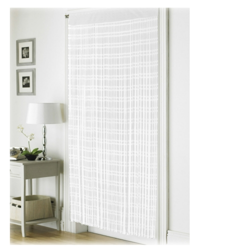 Jacquard White 'String' Door Curtain