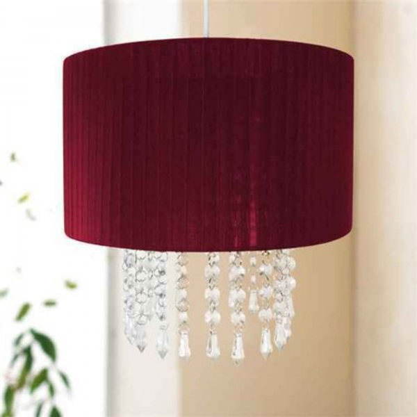 Easy Fit Chandelier 'Red' Hanging Crystals 30cm Pendant Shade Lighting