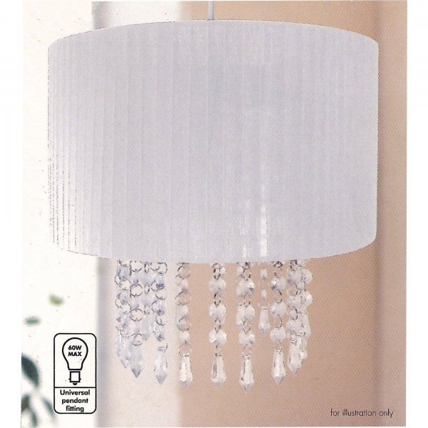 Easy Fit Chandelier 'Pearl White' Hanging Crystals 30cm Pendant Shade Lighting
