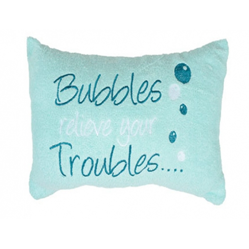 Aqua 'Bubbles Releive Your Troubles' Embellished Pillow Bath