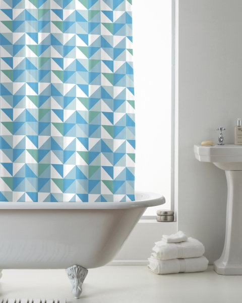 'Geometric' Hookless Without Hook Shower Curtain