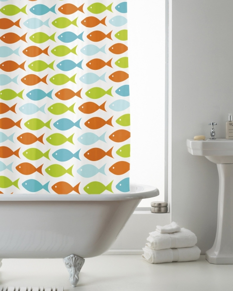 Coastal Fish with Hook Shower Curtain