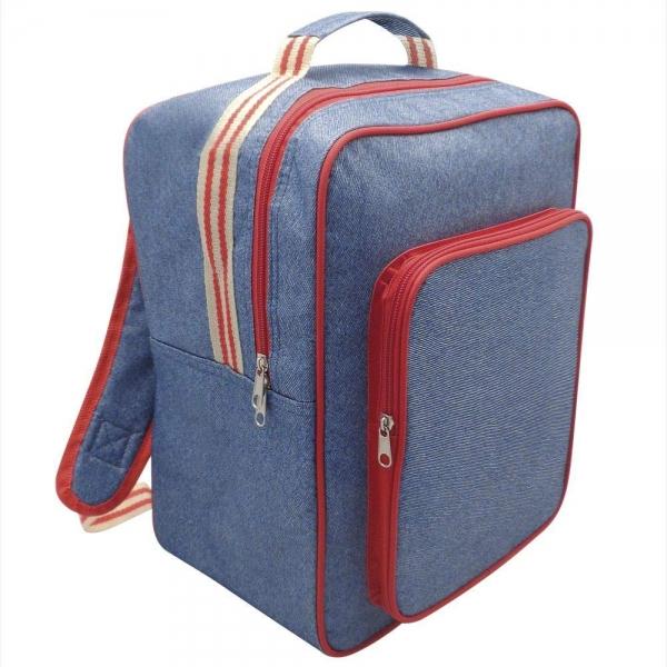 Alfresco Denim Striped Insulated Cooler Bag School Rucksack Backpack