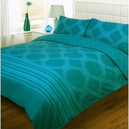 Hexagon Teal Half Set Bedding Double Duvet Cover