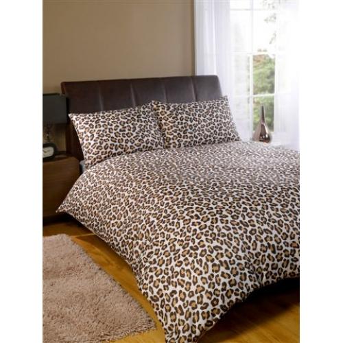 Leopard Chocolate Half Set Bedding Super King Duvet Cover