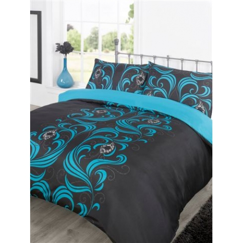 ava teal black half set bedding king duvet cover 5027434059454. Black Bedroom Furniture Sets. Home Design Ideas
