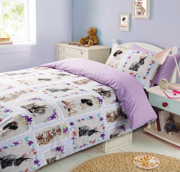 Pet Love 'Purple' Reversible Rotary Double Bed Duvet Quilt Cover Set