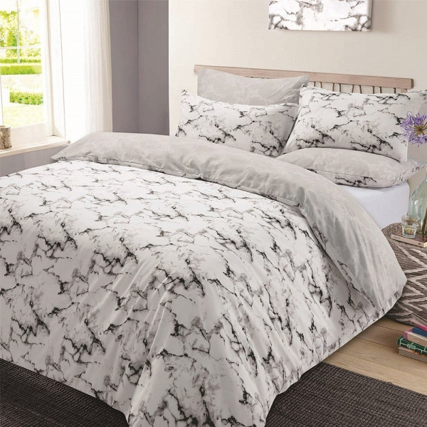 Marble 'Grey' Reversible Rotary Single Bed Duvet Quilt Cover Set