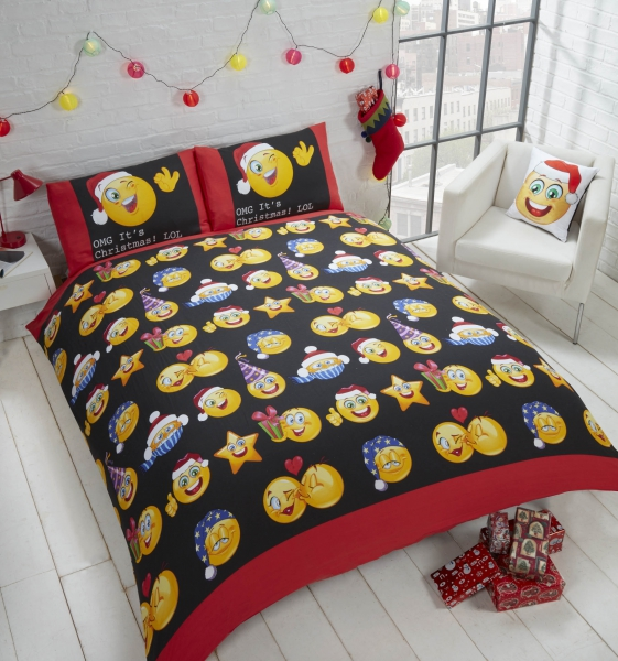 Emotions Emoticons 'Christmas Icons' Multi Reversible Rotary King Bed Duvet Quilt Cover Set