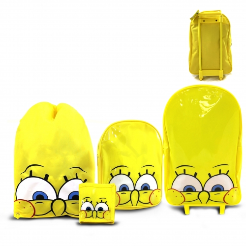 Spongebob Squarepants 4 Piece Include Wallet Backpack Swimbag Wheeled Bag Set