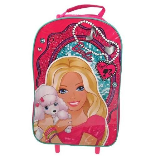Barbie Pvc Front School Travel Trolley Roller Wheeled Bag