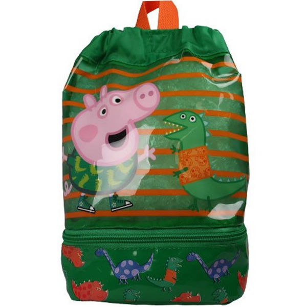 Peppa Pig George Dino Dude Drawsting Small School Bag Rucksack Backpack