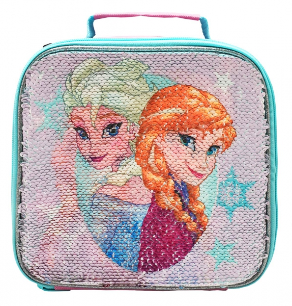 Disney Frozen Shimmer Sequin 'Multi Design In One' School Premium Lunch Bag Insulated