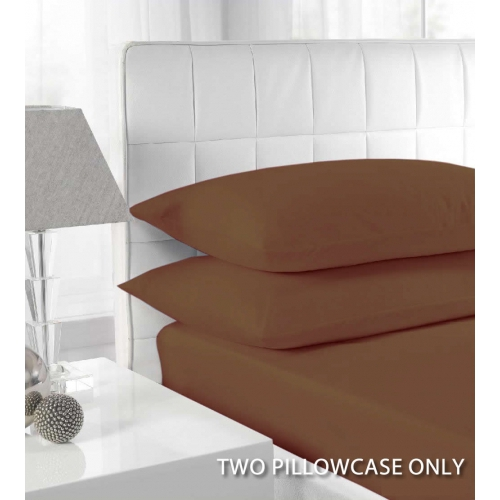 Percale Brown 2 Pk Bedding Pillow Case Set