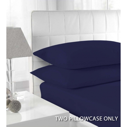 Percale Navy 2 Pk Bedding Pillow Case Set