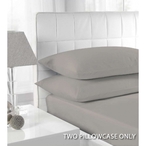 Percale Silver 2 Pk Bedding Pillow Case Set