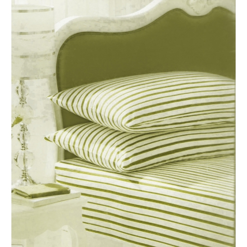 Stripe White Green Fitted Sheet Bedding Single Bed Set