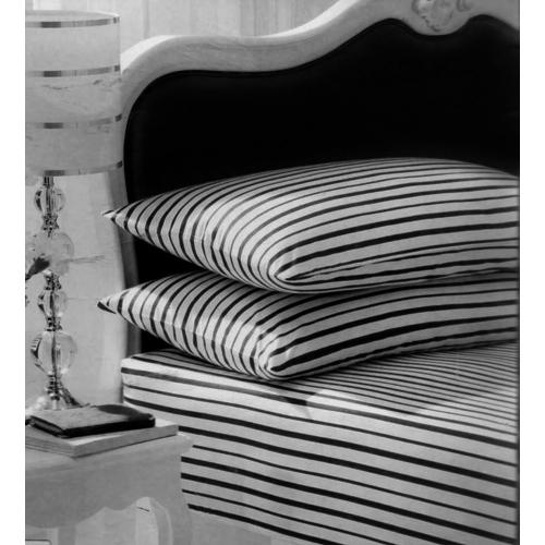 Stripe White/black Fitted Sheet Bedding Single Bed Set