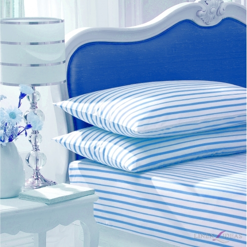 Stripe White/blue Fitted Sheet Bedding King Bed Set
