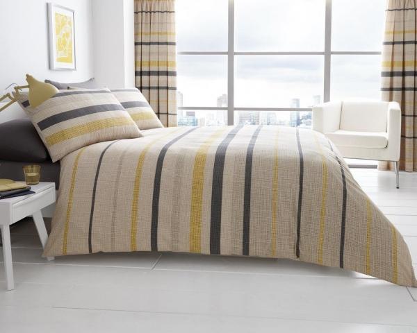 Block Stripes 'Beige' Double, King & Super King size Quilt Duvet Cover Sets