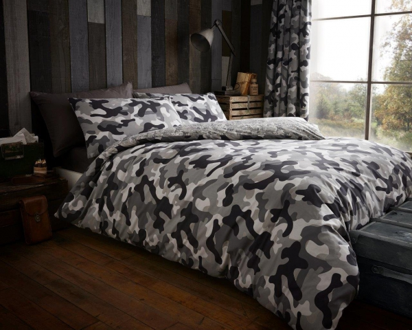 Camouflage 'Grey' Double, King & Super King size Quilt Duvet Cover Sets