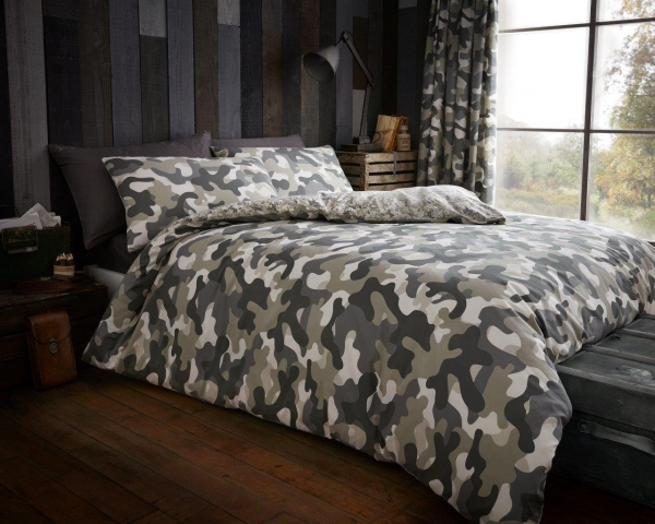 Camouflage 'Green' Double, King & Super King size Quilt Duvet Cover Sets