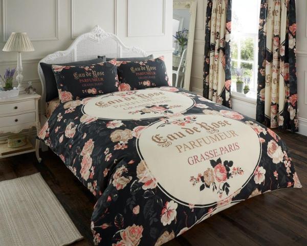 Iola Scripted 'Black' Single, Double, & King size Quilt Duvet Cover Sets