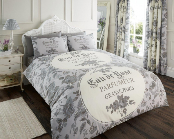 Iola Scripted 'Grey' Single, Double, & King size Quilt Duvet Cover Sets