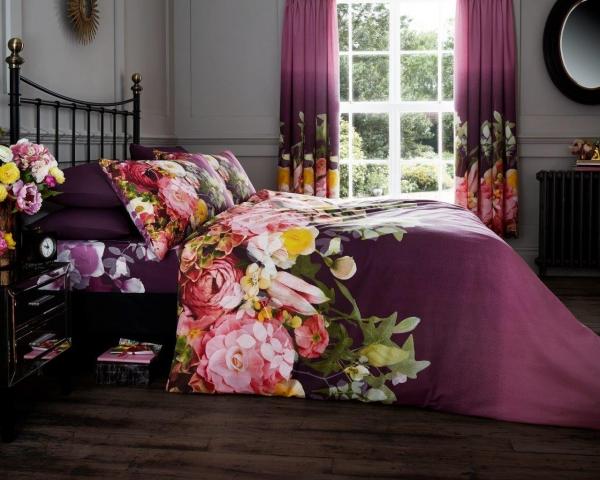 Fadded Floral 'Aubergine' Double, King & Super King size Quilt Duvet Cover Sets